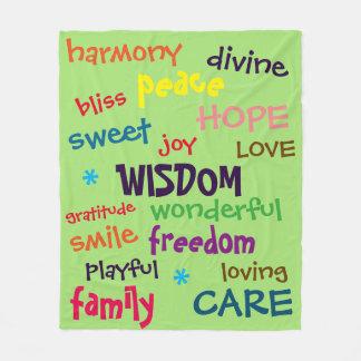 Fun Colourful Positive WORDS Fleece Blanket