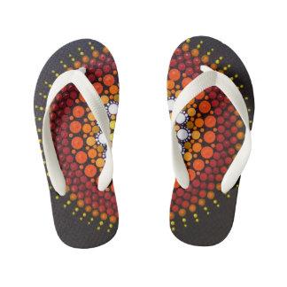 Fun, colourful, Sunrise patterned flip flops