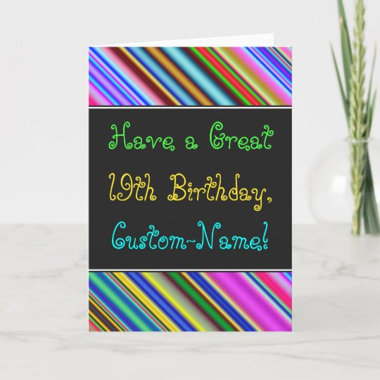 Fun Colourful Whimsical 19th Birthday Card Zazzle