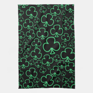 Fun Cool and Unique Pattern of Neon Shamrocks Kitchen Towel