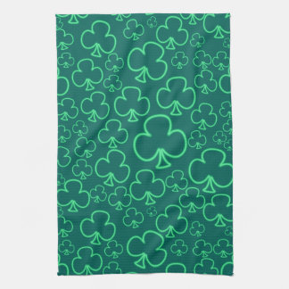 Fun Cool and Unique Pattern of Neon Shamrocks Towels