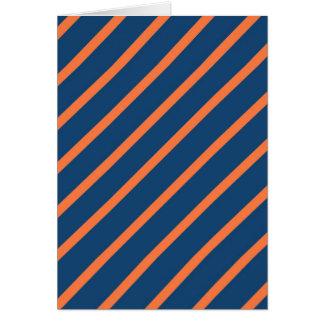 Fun Cool Blue and Orange Diagonal Stripes Card