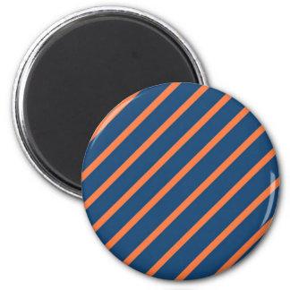 Fun Cool Blue and Orange Diagonal Stripes Refrigerator Magnets