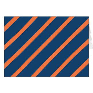 Fun Cool Blue and Orange Diagonal Stripes Note Card