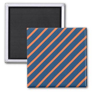 Fun Cool Blue and Orange Diagonal Stripes Square Magnet