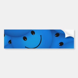 Fun Cool Happy Blue Smiley Faces Car Bumper Sticker