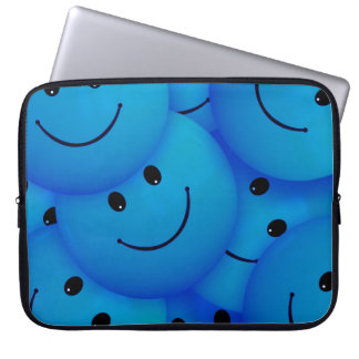 Fun Cool Happy Blue Smiley Faces Laptop Sleeve