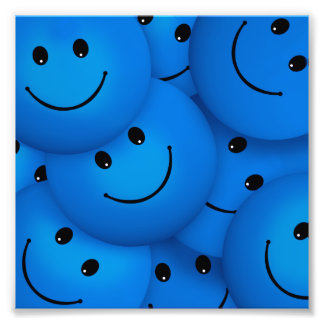 Fun Cool Happy Blue Smiley Faces Photo Print