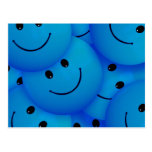 Fun Cool Happy Blue Smiley Faces Postcard