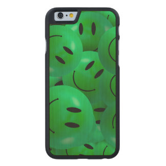 Fun Cool Happy green Smiley Faces Carved® Maple iPhone 6 Case