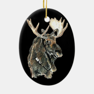 Fun Cool Moose listening to Music with Headphones Christmas Ornament