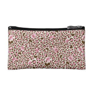 fun cool pink and brown print cosmetic bags