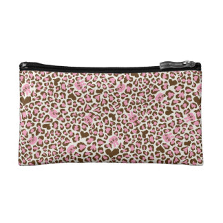 fun cool pink and brown print cosmetic bags