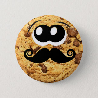 Fun Cool Quirky Trendy Cute Cookie Mustache 6 Cm Round Badge