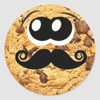 Fun Cool Quirky Trendy Cute Cookie Mustache Round Sticker