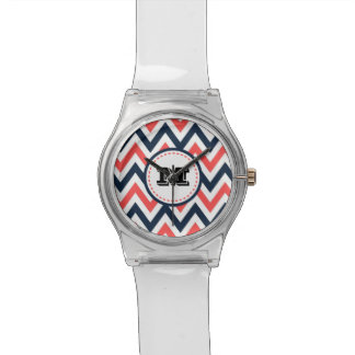 Fun Coral & Navy Chevron Pattern with Monogram Wrist Watches