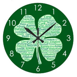 Fun Counties of Ireland Shamrock Wall Clocks