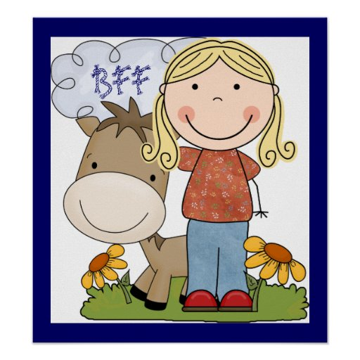 Fun Country Theme Girl Horse BFF Poster Art Print