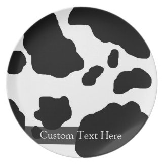 Fun Cow Print Personalized Plate