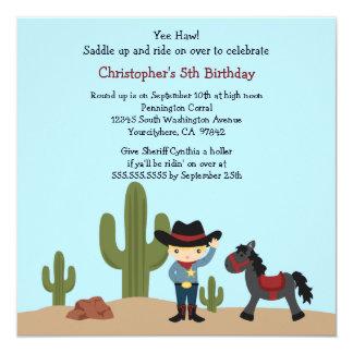 Fun cowboy western boys birthday party invitation