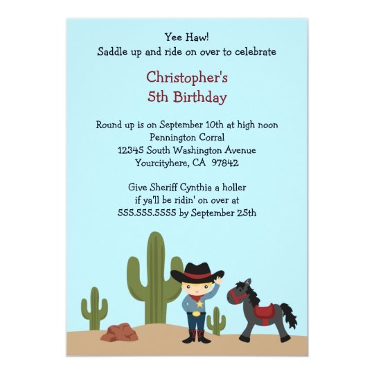 Fun cowboy western boy's birthday party invitation
