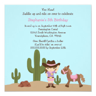 Fun cowgirl western girl birthday party invitation