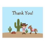Fun cowgirl western girl thank you postcard