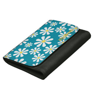 Fun Crazy Daisy Blue White Yellow Personalized Wallet