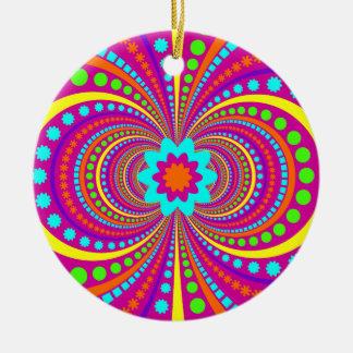 Fun Crazy Pattern Hot Pink Orange Teal Christmas Ornament