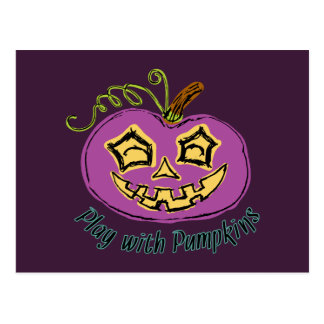 Fun & Creepy Purple Play Pumpkin Postcard
