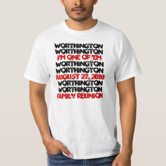 Fun Custom Family Reunion Black Red White B001 T-Shirt