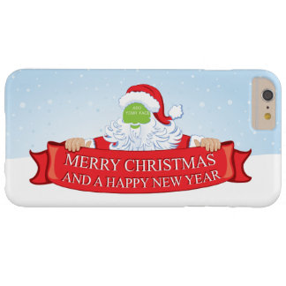 Fun customizable Santa Claus Christmas greeting… Barely There iPhone 6 Plus Case