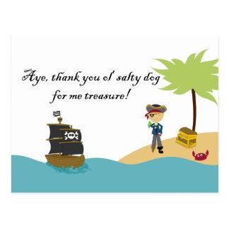 Fun cute boy s pirate thank you postcard