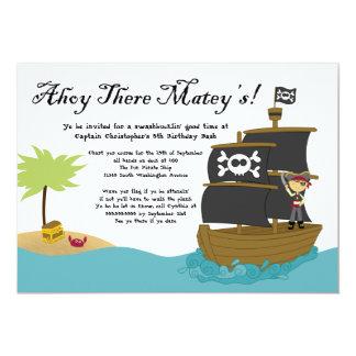 """Fun cute boy's pirate birthday party invitation 5"""" x 7"""" invitation card"""