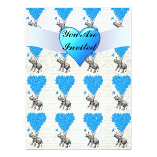 Fun cute elephants & blue heart balloons 17 cm x 22 cm invitation card
