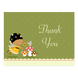 Fun cute fairy girl's birthday thank you postcard