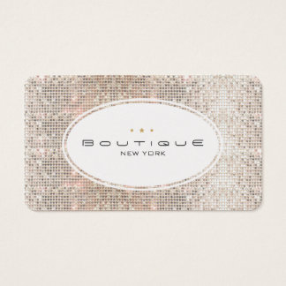 Fun & Cute Fashion Boutique Faux Silver Sequins Business Card