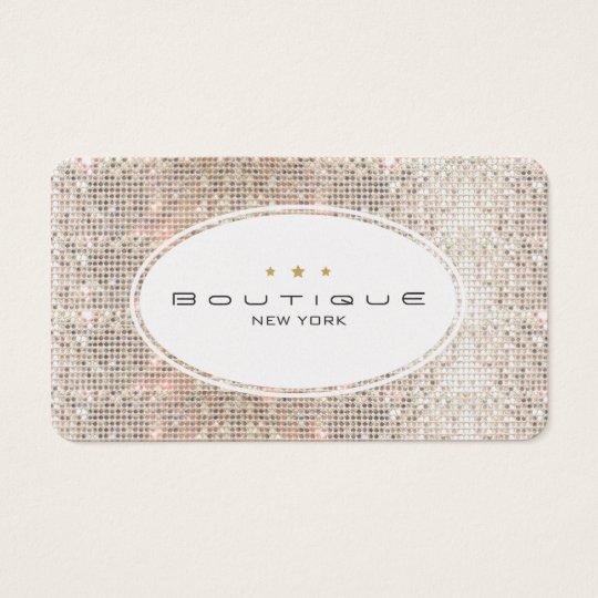 Fun & Cute Fashion Boutique Faux Silver Sequins Business Card