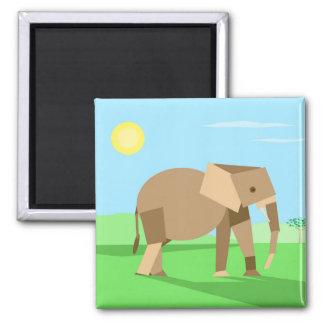 Fun Cute Geometric Cubist Elephant in Sunlight Square Magnet