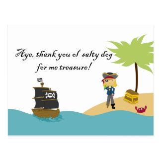 Fun cute girl's pirate thank you postcard