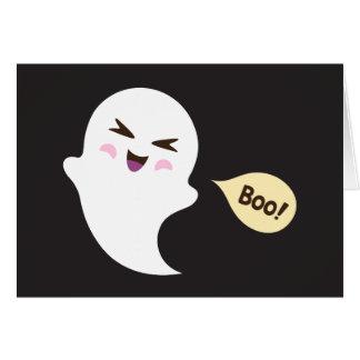 Fun cute kawaii cartoon ghost saying boo card