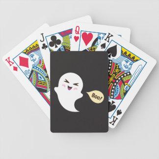 Fun cute kawaii cartoon ghost saying boo deck of cards