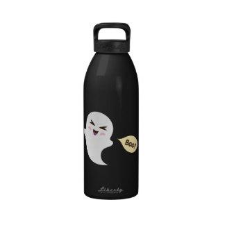 Fun cute kawaii cartoon ghost saying boo water bottles
