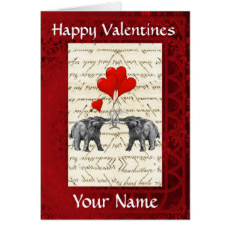 Fun cute mammoths, love heart valentines day card
