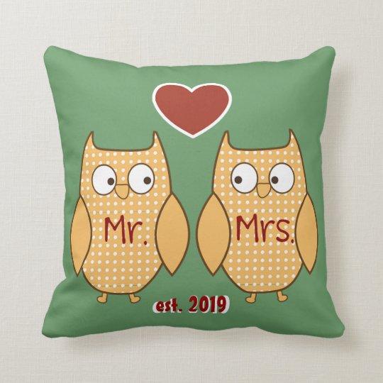 Fun Cute Mr. & Mrs. Owl Personalised Cushion