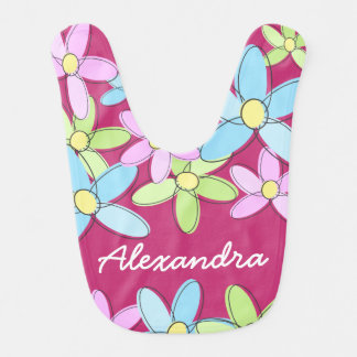 Fun Cute Personalized Colorful Pastel Flowers Bib