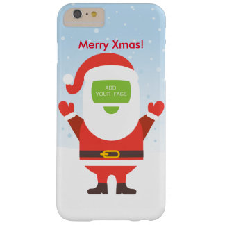 Fun cute Santa Claus custom Christmas greeting… Barely There iPhone 6 Plus Case
