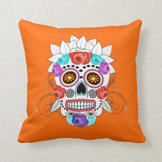 Fun Cute Sugar Skull and Roses Design Cushion