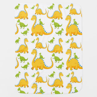 Fun Cute Yellow And Green Dinosaurs Baby Blanket