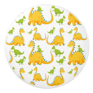 Fun Cute Yellow And Green Dinosaurs Ceramic Knob